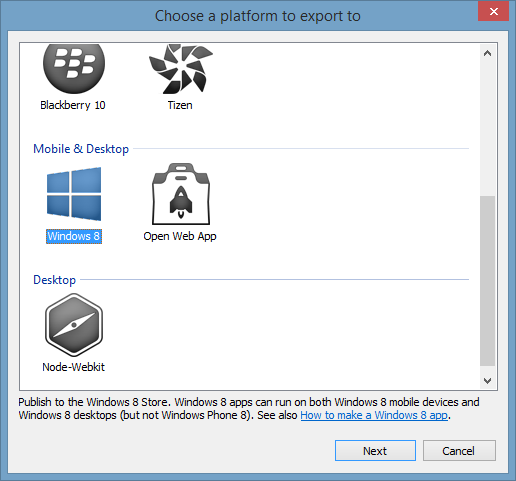 export to windows 8