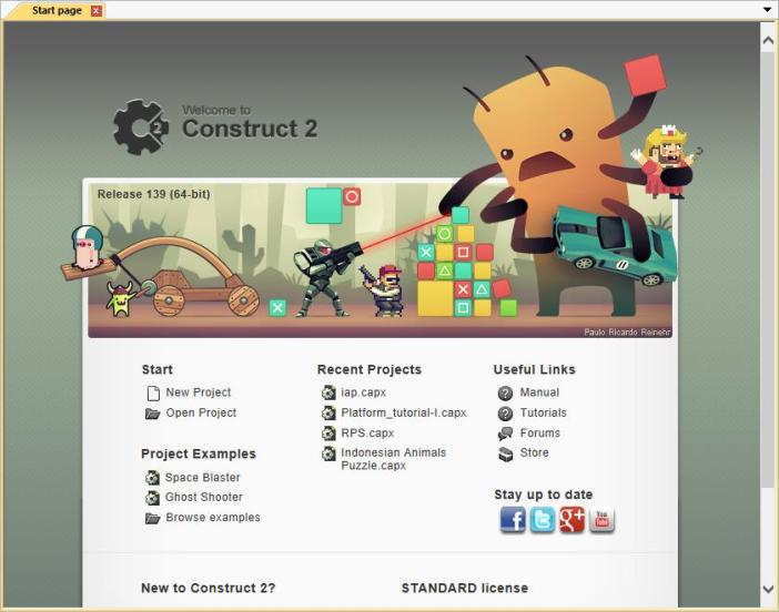 Start Page Construct 2